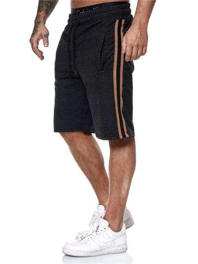 Mens Casual Slim Fit Plaid Patchwork Sports Shorts