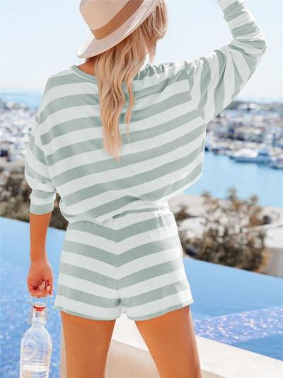 Leisure Wear Striped 2-Piece Set Round Neck Long Sleeve Cropped Top + Drawstring Shorts