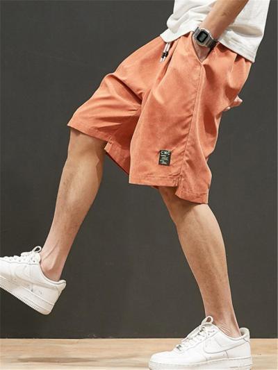 Casual Fashion Solid Color Print Elastic Waist Sports Shorts