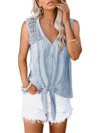 Relaxed Shape V Neck Floral Lace Cutout Sleeveless Tie-Knot Hem Chiffon Lightweight Blouse