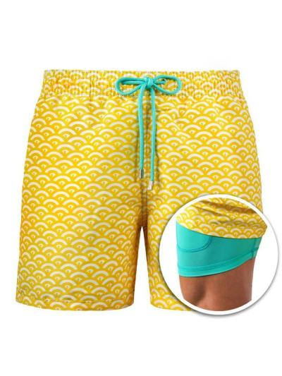 Mens Beach Print Two Pieces Workout Shorts