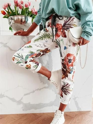 Tapered Fit Comfy Drawstring Waistband Vibrant All-Over Floral Print Pants