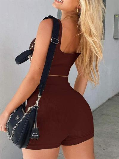 Workout Style Ribbed Design 2 Piece Set Straight Neck Cropped Vest + High-Rise Shorts