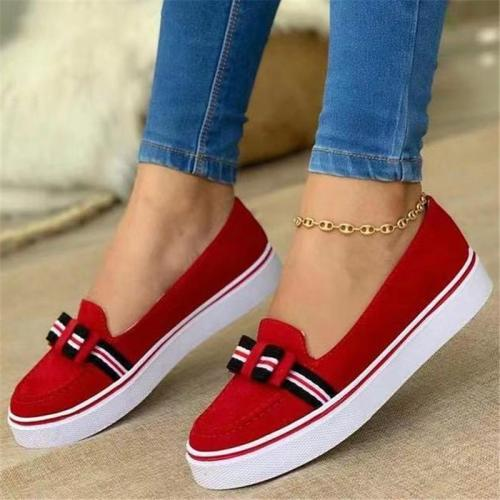 Daily Wear Feminine Style Low-Top Contrast Detailing Front Bowknot Slip-On Shoes