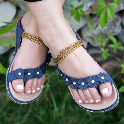 Feminine Design Casual Braided Strap Front Floral Deco Flip Flops Sandals Slippers