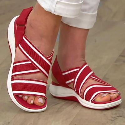 Daily Wear Elasticated Slingback Contrast Design Velcro Fastening Open-Toe Sandals