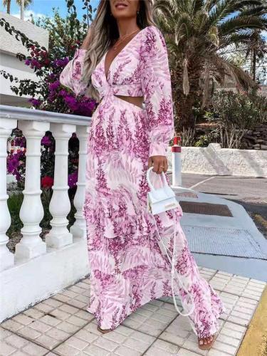 Sexy Pretty Floral Print Low V Neck Long Sleeve Waist Cutout Design Full-Length Dress