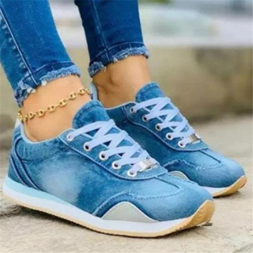 Streetwear Style Denim Paneled Contrast Design Lace-Up Fastening Low-Top Sneakers