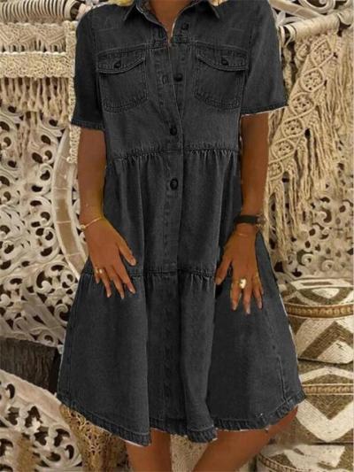 Pointed Collar Short Sleeve Button Fastening Pleated Design Chest Pocket Denim Shirt Dress
