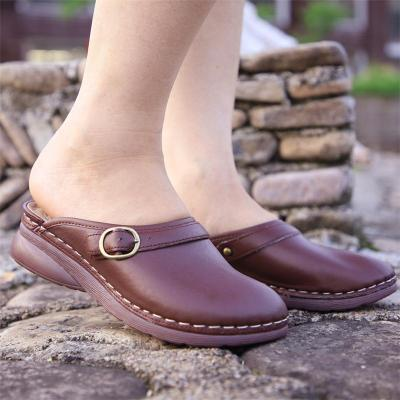 Comfortable Vintage Style Closed-Toe Slip-On Thick-Sole Loafer Flat Mules