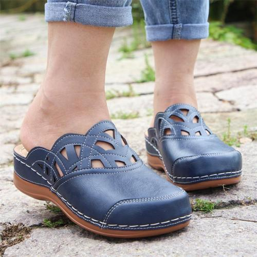 Casual Style Slip-On Contrast Stitching Cutout Design Closed-Toe Durable Loafer Mules