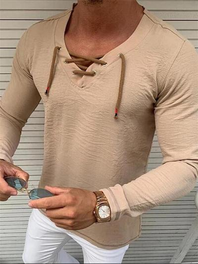 Mens Casual Solid Color V-Neck Long Sleeve Shirts