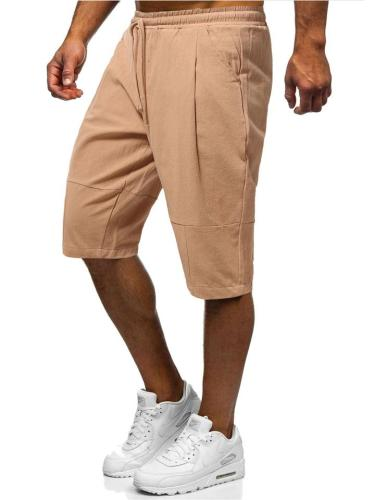 Mens Comfy Breathable Solid Color Casual Knee Shorts