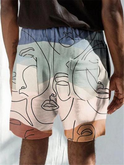Mens Beach Vertical Print Summer Casual Shorts