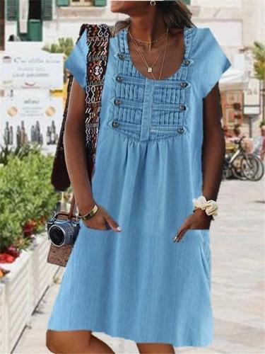 Loose Fit Scoop Neck Short Sleeve Button Embellished Pleated Design Thigh-Length Dress
