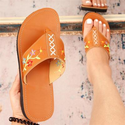 Casual Style Comfy Contrast Stitching Floral Embroidery Flip-Flops Flat Slippers