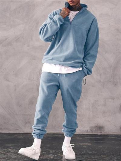 Mens Fashion Casual Loose Warm Lining Hooded Hoodies+Pants
