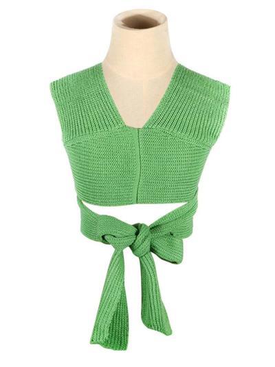 Sexy Pretty Fine Knit Multi-Way Crossed Design Cropped Sweater Vest