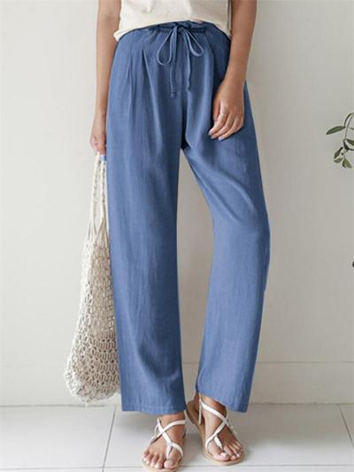 Casual Style Cotton-Blend Drawstring Waistband Solid Color Straight-Leg Full-Length Pants