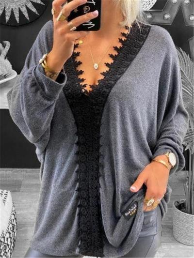 Oversized Style V Neck Long Sleeve Floral Lace Detailing Pullover Lightweight Tops