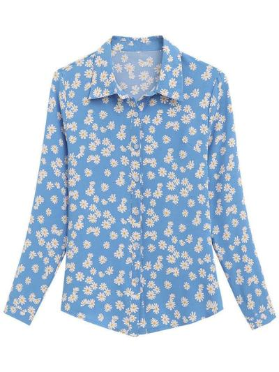 Relaxed Shape Spread Collar All-Over Daisy Print Long Sleeve Button Fastening Blouse