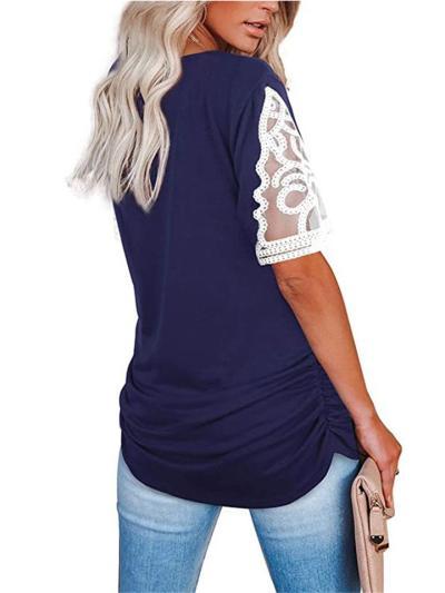 Relaxed Shape V Neck Lace Patchwork Side Drawstring Curved Hem Short Sleeve T-Shirt