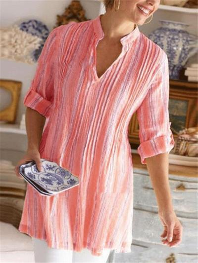 Oversized Style Stand Collar V Neckline Long Sleeve Striped Print Mid-Length Pullover Tops