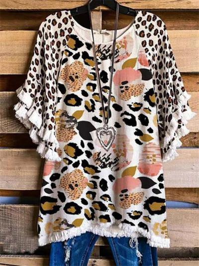 Loose Fit Round Neck All-Over Print Multicolor Leopard Floral Half Sleeve Pullover Top