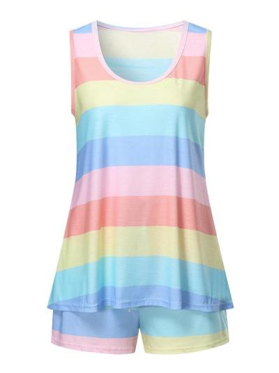 Casual Style Contrast Color 2 Piece Set Round Neck Sleeveless Tank Top + Drawstring Shorts
