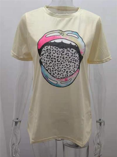 Casual Silhouette Soft Touch Round Neck Multicolor Graphic Print Straight Hem T-Shirt