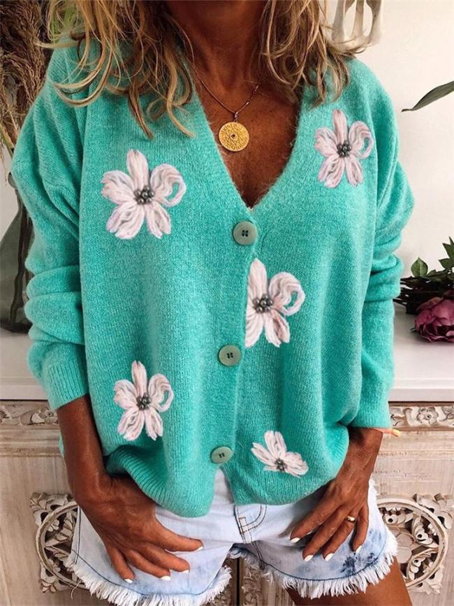 Loose Fit V Neck Long Sleeve Button Fastening Floral Detailing Outerwear Sweater