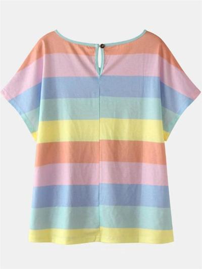 Leisure Contrast Color 2 Piece Set Round Neck Short Sleeve Top + Drawstring Shorts