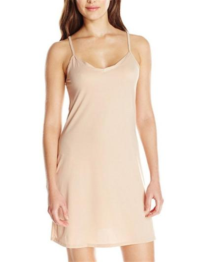 Straight Silhouette Soft Touch Scoop Neck Sleeveless Spaghetti Strap Thigh-Length Dress