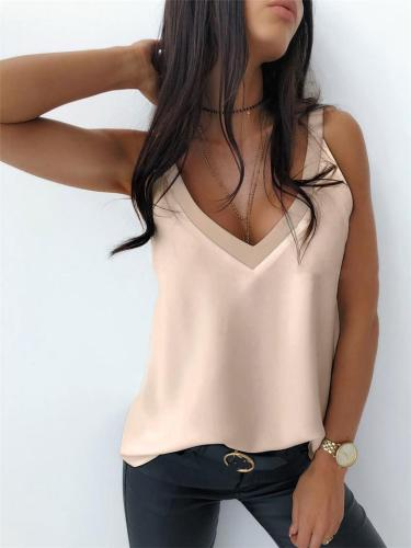 Relaxed Fit Solid Color V Neck Strappy Straight Hem Soft Touch Lightweight Camisoles