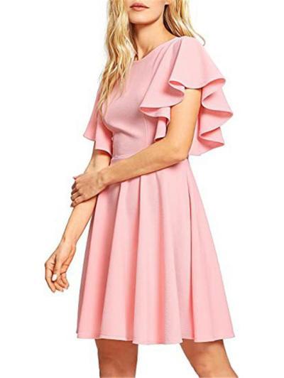 Stylish Round Neck Ruffled Short Sleeve Fitted Waist Pleated Flared Style Thigh-Length Dress