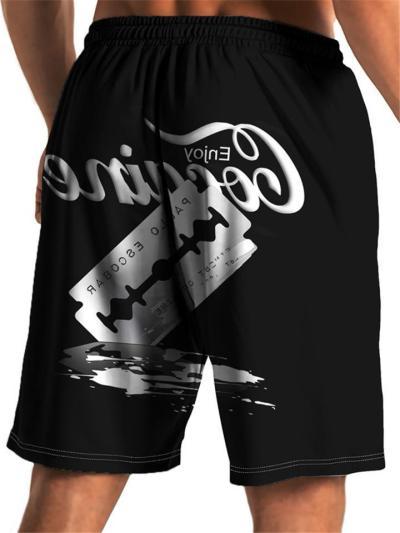 Mens Loose Casual Print Beach Shorts