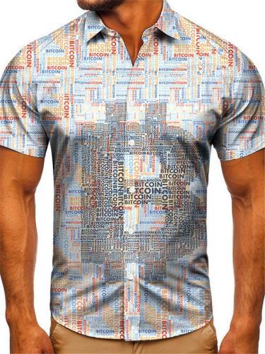 Mens Fashion Casual Print Personality Short Sleeve Shirts