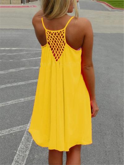Loose Fit Scoop Neck Spaghetti Strap SleevelessRacerback Netted Detailing Chiffon Dress