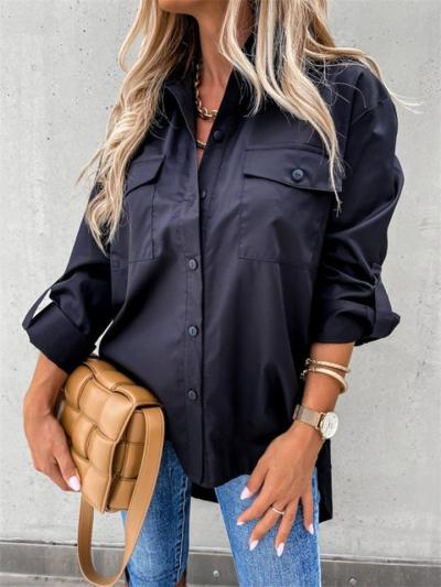 Casual Style Button Fastening Lapel Collar Chest Pocket High-Low Curved Hem Blouse