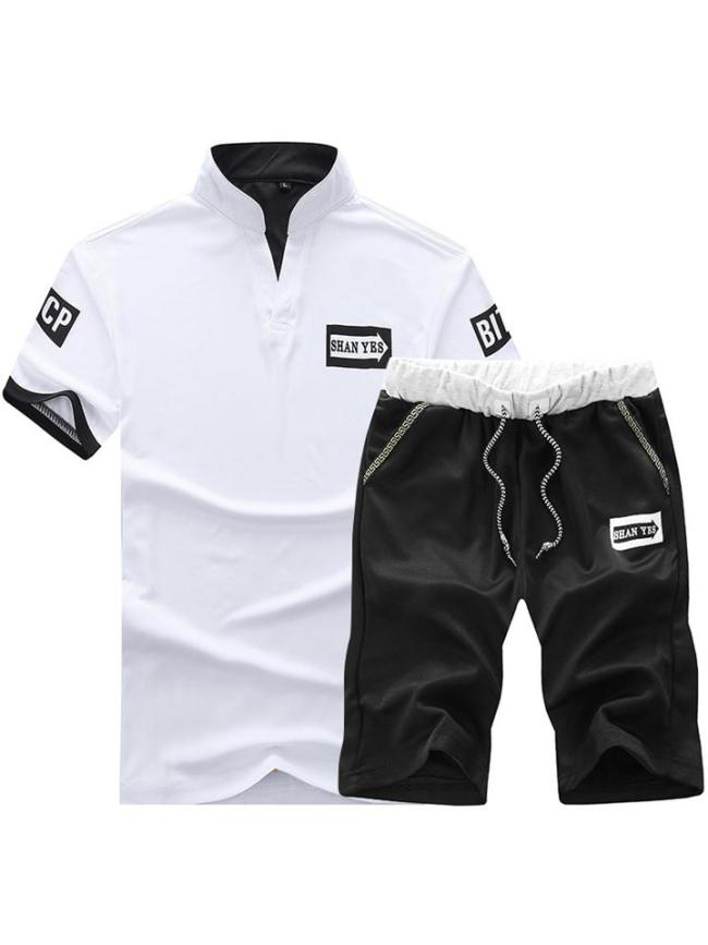 Mens Print Breathable Solid Color Outdoor Shirts+Shorts