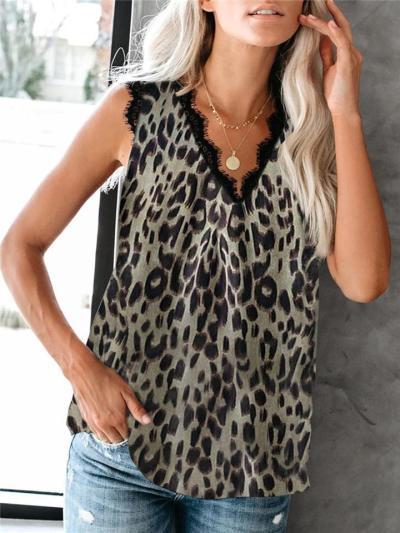 Loose Fit V Neck Sleeveless Leopard Floral Print Fringed Detailing Pullover Top
