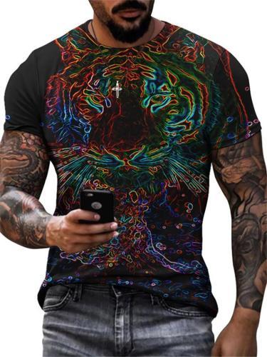 Mens Slim Fit Casual Print O-Neck Short Sleeve T-Shirts