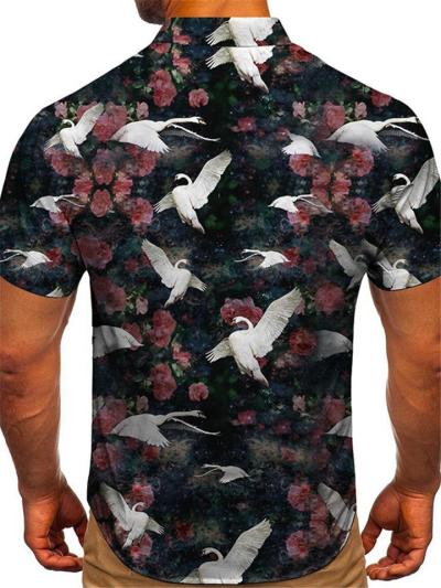 Mens Loose Casual Print Personality Short Sleeve Shirts