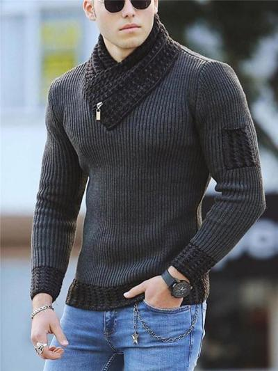 Mens Warm Patchwork Fashion Casual Sweaters