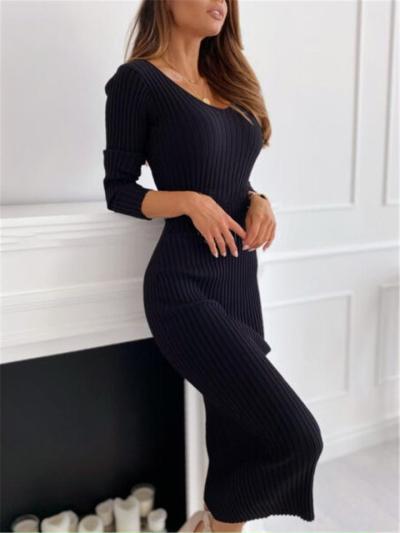 Slim Fit Stretchy Scoop Neck Ribbed Design Long Sleeve Ankle-Length Dress