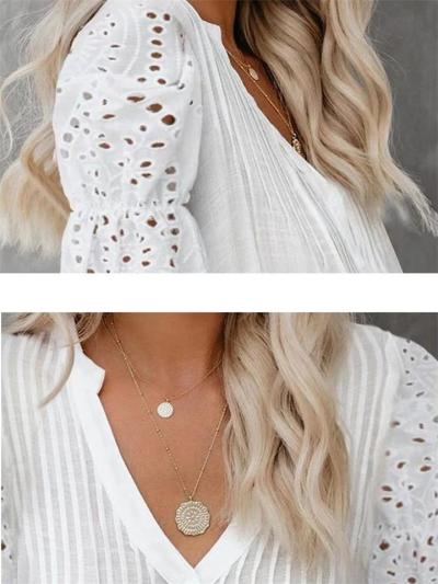 Casual V Neck Pleated Design Floral Lace Cutout Detailing Lightweight Pullover Top