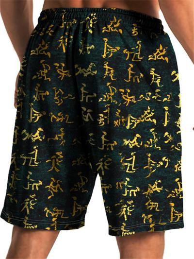 Mens Loose Casual Print Personality Beach Shorts