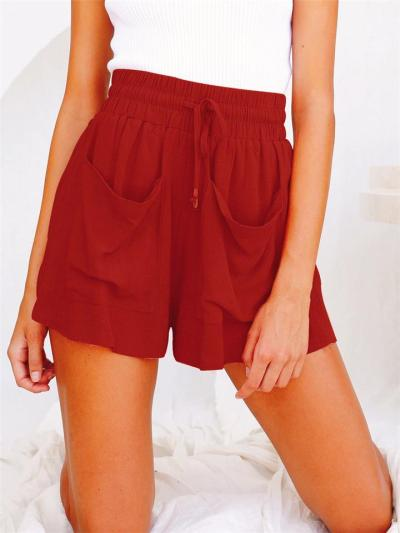 Laid-Back Style High-Rise Drawstring Elasticated Waistband Front Pocket Wide-Leg Shorts