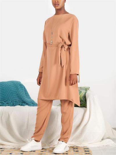 Minimalist Style 2-Piece Set Long Sleeve Waist Tie Dress + Full-Length Pants