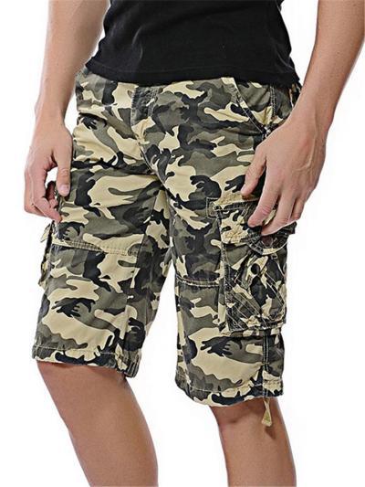 Mens Loose Casual Camo Cargo Knee Shorts